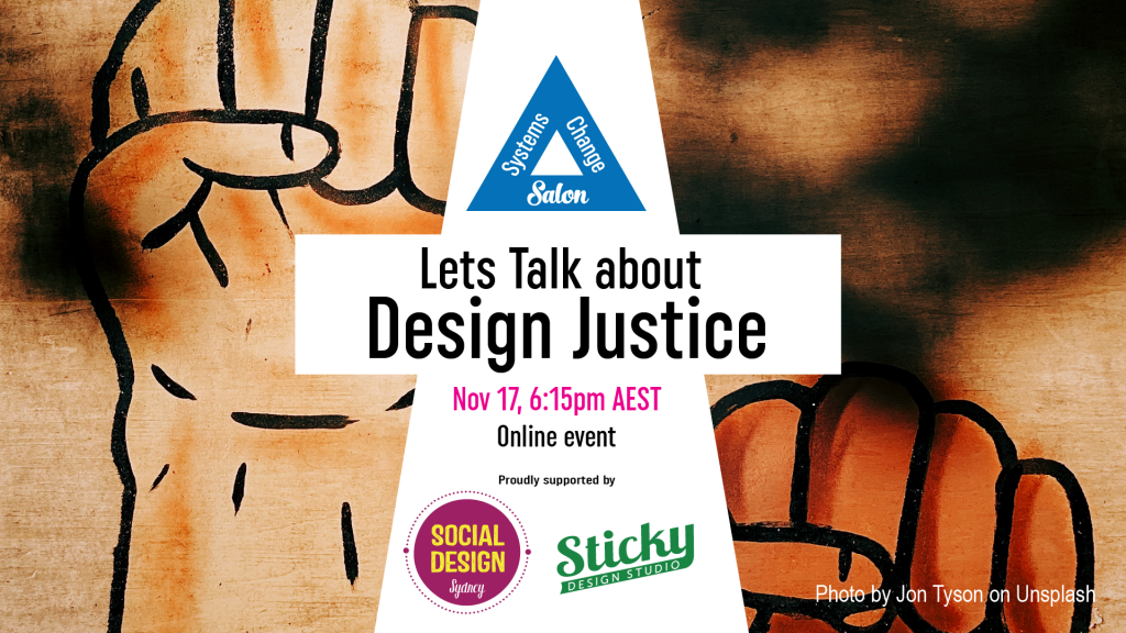 Lets talk about design justice flyer